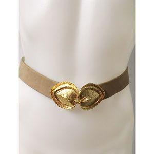 Tan & Gold Vintage Belt Size M/L